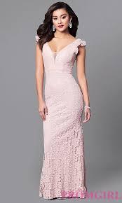 flutter style dress lace v neck prom dress with flutter sleeves promgirl