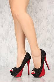 black rhinestone peep toe platform high heels