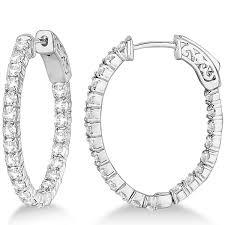 small white gold hoop earrings fancy small oval shaped diamond hoop earrings 14k white gold 2 16ct