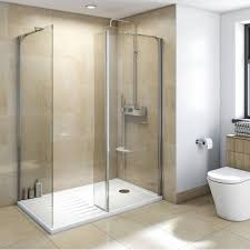 Bathroom Shower Units Mode Luxury 8mm Walk In Enclosure Pack With Tray 1600 X 800