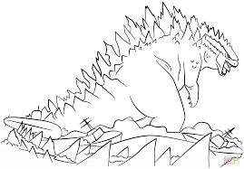 godzilla rises from the sea coloring page free printable