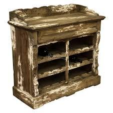 distressed reclaimed pine wooden wine storage cupboard rack