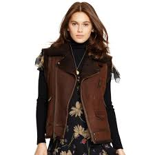 leather biker vest polo ralph lauren shearling biker vest in brown lyst