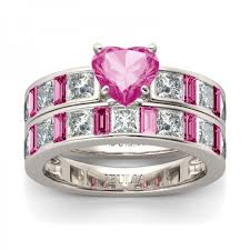 Jeulia Wedding Rings by Jeulia Heart Cut Created Pink Sapphire Wedding Set Jeulia Jewelry