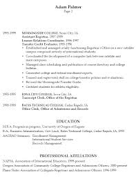 Resume Affiliations Examples by Resume Example For A University Registrar Susan Ireland Resumes