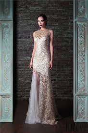 wedding evening dresses white and gold lace mermaid evening dress 2017 custom