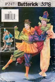 Butterick Halloween Costume Patterns Butterick 3598 Mens Misses Clown Costume Pattern Ala Cirque Du