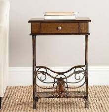 Accent End Table Wood And Iron Nightstand Accent End Table Drawer Shelf Vintage