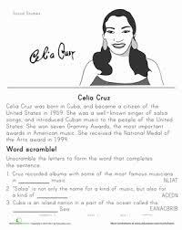 celia cruz historical heroes worksheet education com