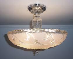 vintage glass pendant light antique 1930s 40s vintage art deco pink glass ceiling light fixture