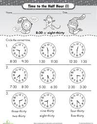 telling time half hour telling time to half hour worksheets worksheets