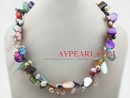 colour pearl necklace images Multi color shell multi color pearl necklace jpg