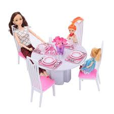 barbie dining room miniature furniture high simulation of white porcelain dining