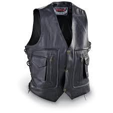 biker vest men u0027s leather cargo pocket biker vest black 75097 vests at