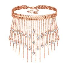 rose choker necklace images Lipsy rose gold crystal fringe choker necklace sale from jon jpg