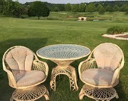 Patio Set With Swivel Chairs Spun Fiberglass Etsy