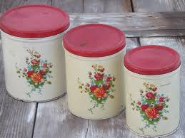 vintage kitchen canister tins painted metal cansister set w flowers