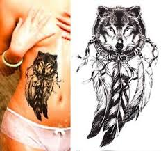 temporary large black wolf dreamcatcher feathers waterproof