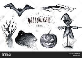 halloween hand drawing black white graphic set icon drawn