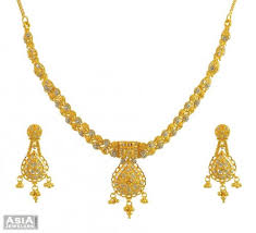 gold tone necklace set images Gold two tone necklace set 22kt ajns54995 22k gold necklace jpg