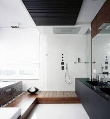 modern minimalist bathroom black sinks and teak shower floor