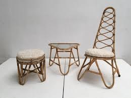 bureau en rotin tabouret table u0026 chaise à dossier haut en rotin avec coussins en
