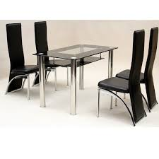 Glass Dining Table Sets Glass Top Dining Table Set 4 Chairs