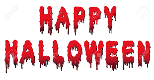 happy halloween text words are written in blood with blood