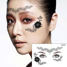 henna eye makeup 2pcs lot silver henna tattoo eye sticker flower