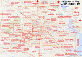 Dallas Tx Zip Code Map red labeled map of houston shows snide comments you can make about