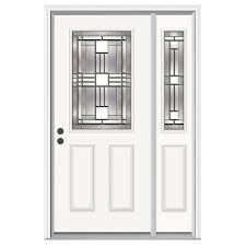 Steel Exterior Doors Home Depot by Jeld Wen 52 In X 80 In 1 2 Lite Cordova Primed Steel Prehung