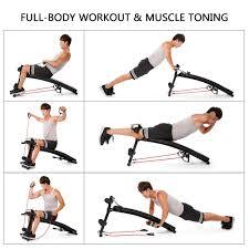 amazon com tomshoo adjustable decline ab bench abdominal crunch