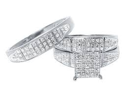 wedding ring trio sets 10k white gold pave diamond engagement bridal wedding ring