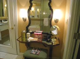 bedroom glass top make up table with lighted square mirror with