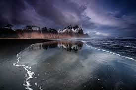 iceland mountain beach black sand hd wallpaper
