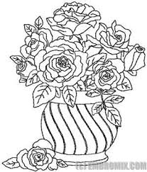 Vase Of Flowers Drawing Flowers And Nature Redwork Flowers Vase With Roses