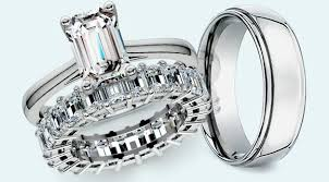 Wedding Set Rings by Emerald Cut Diamond Wedding Sets