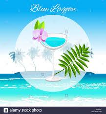 blue lagoon cocktail blue lagoon cocktail vector cartoon style on the seaside