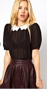black blouse with white collar de moura s black white pan collar top big