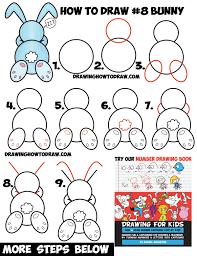 how to draw a cute cartoon sleeping bunny rabbit from 8 shape