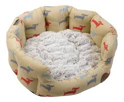 Cat Bed Pattern Petface Dog Deli Pattern Oval Pet Bed Grey Faux Fur Removable