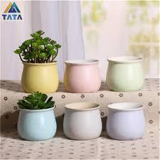 popular mini ceramic pot buy cheap mini ceramic pot lots from tartadeco free shipping kawaii mini macarooncolor ceramic flower pot vase succulent plants circular bonsai planter tt