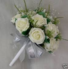 silk wedding flowers brides bridesmaids posy bouquet in ivory roses silver sprays