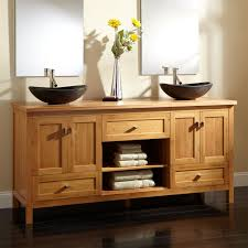 sink bowls on top of vanity wood open shelf vanity signature hardware