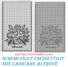 curtains with vase of stylised roses free filet crochet pattern