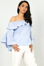 light blue off the shoulder top off the shoulder top with bell sleeves in light blue
