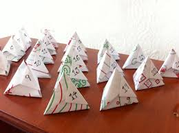 my christmas advent calendar using origami from hand drawn paper