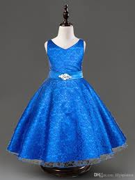 fashion royal blue red flower dress lace and tulle pageant