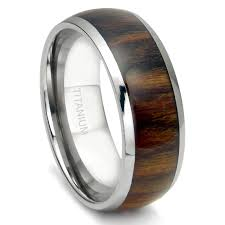 titanium mens wedding bands titanium 8mm domed santos rosewood inlay wedding band ring