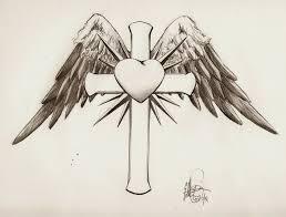 drawn hearts crosses pencil and in color drawn hearts crosses